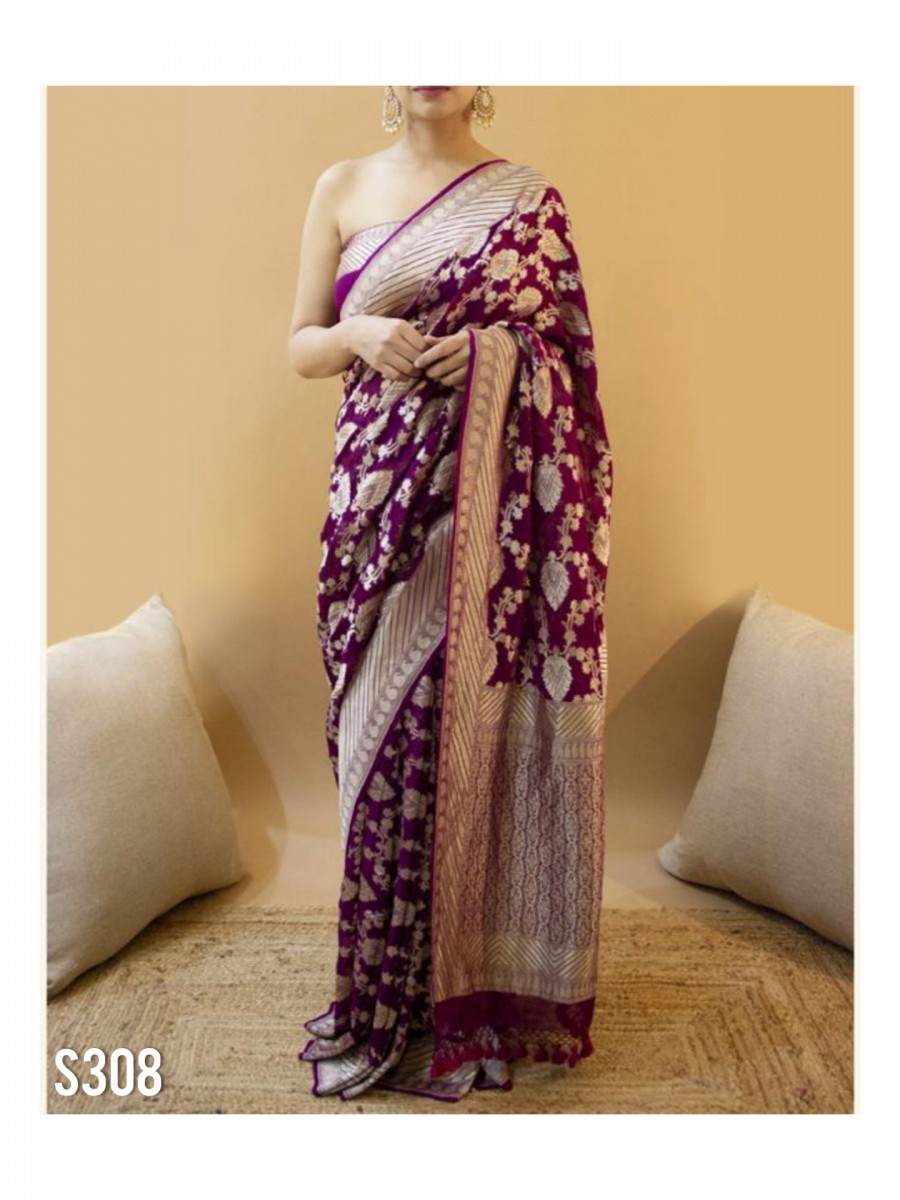 DESIGNER SOFT LICHI SILK SAREE S308