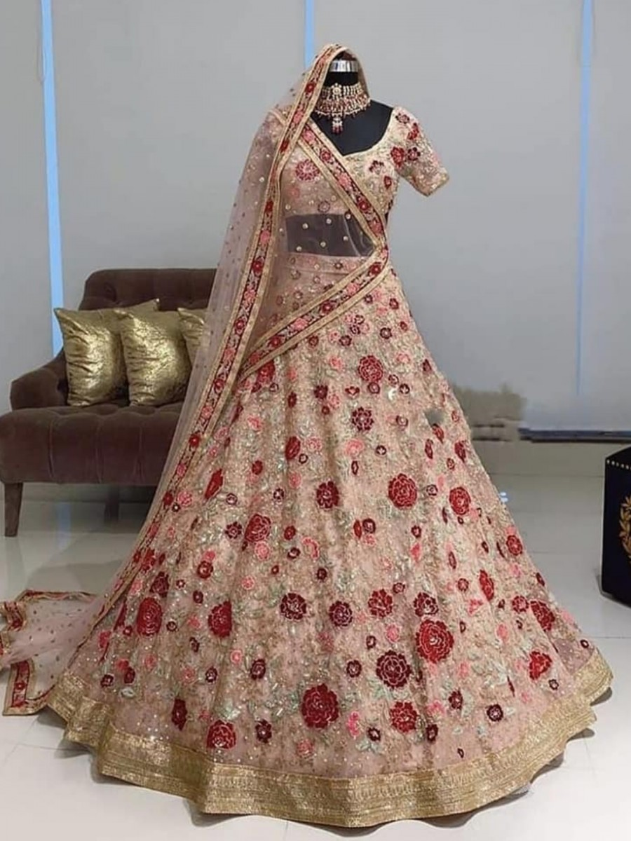 DESIGNER SOFT MONO NET LEHENGA EITH HEAVY EMBROIDERY SEQUENCE WORK L11