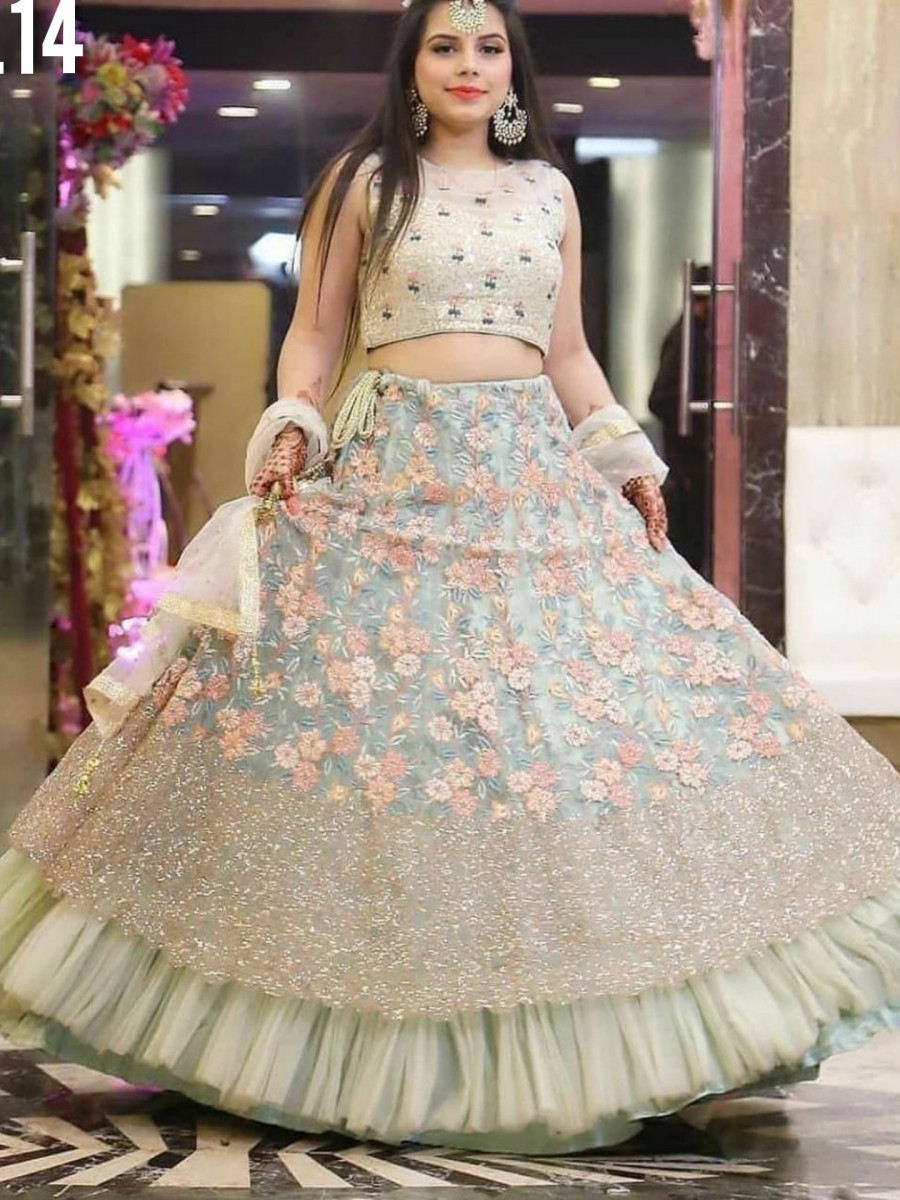 DESIGNER SOFT MONO NET LEHENGA WITH HEAVY EMBROIDERY SEQUENCE WORK L14