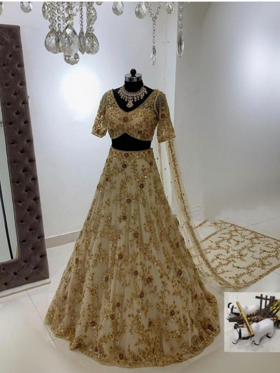 DESIGNER SOFT MONO NET LEHENGA WITH HEAVY EMBROIDERY SEQUENCE WORK L91