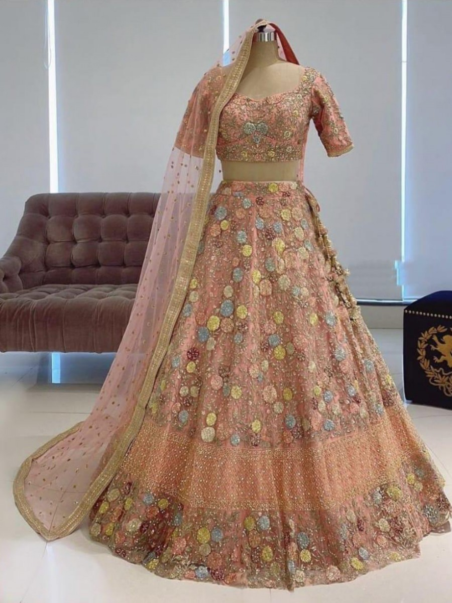 DESIGNER SOFT NET LEHENGA WITH HEAVY EMBROIDERY WORK L21