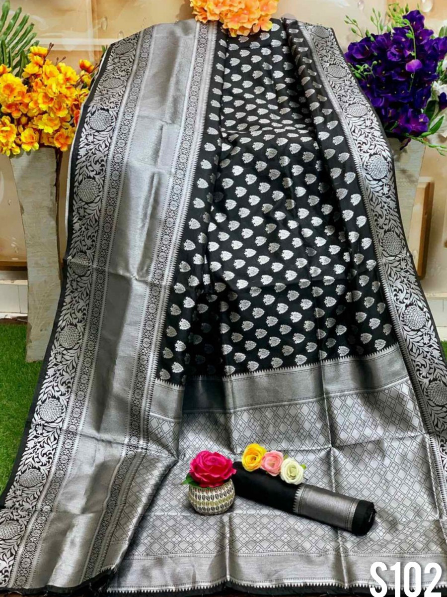 DESIGNER SOFT SILK SAREE WITH BEAUTIFUL SILVER WEAVING WORK S102