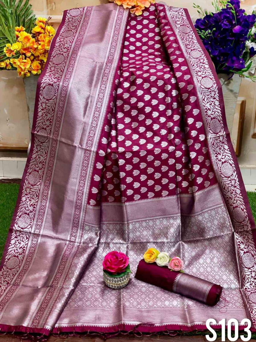 DESIGNER SOFT SILK SAREE WITH BEAUTIFUL SILVER WEAVING WORK S103