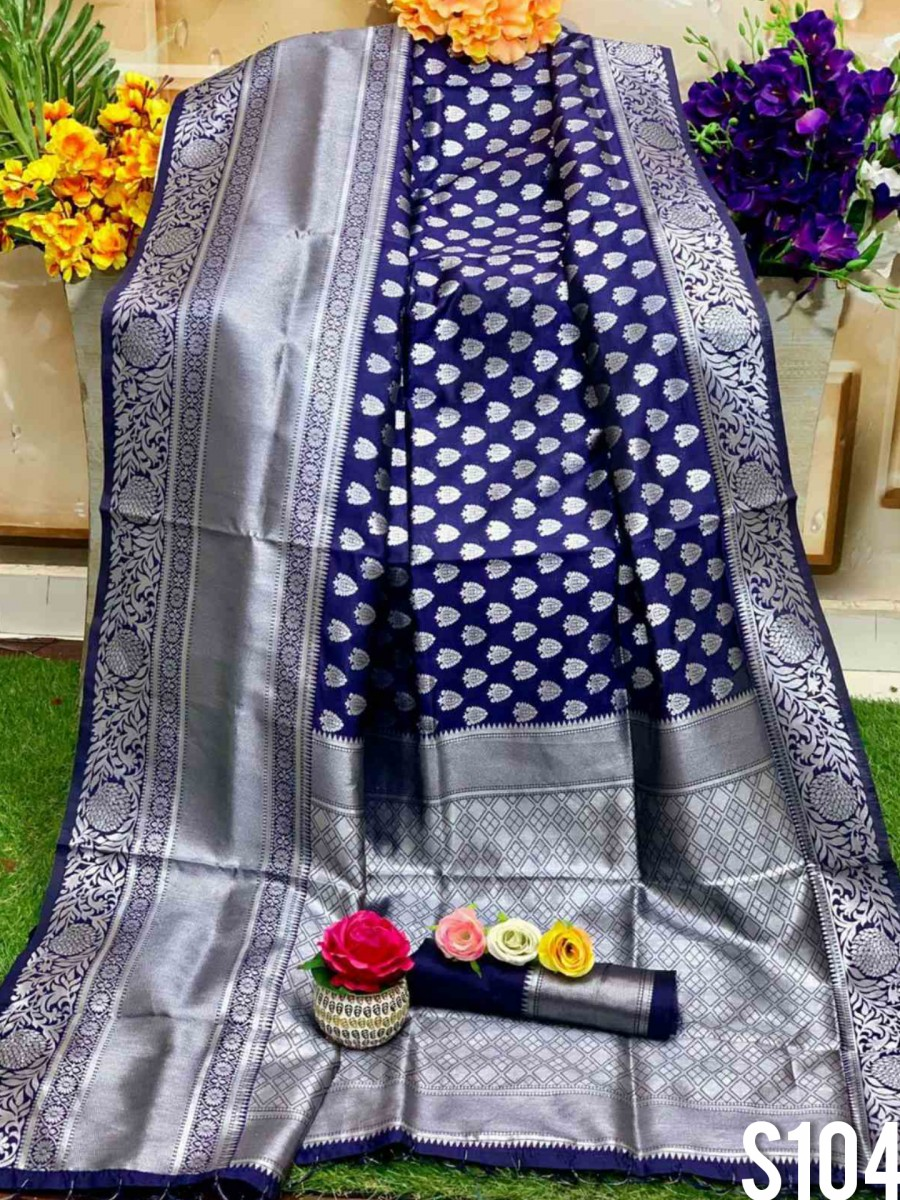 DESIGNER SOFT SILK SAREE WITH BEAUTIFUL SILVER WEAVING WORK S104