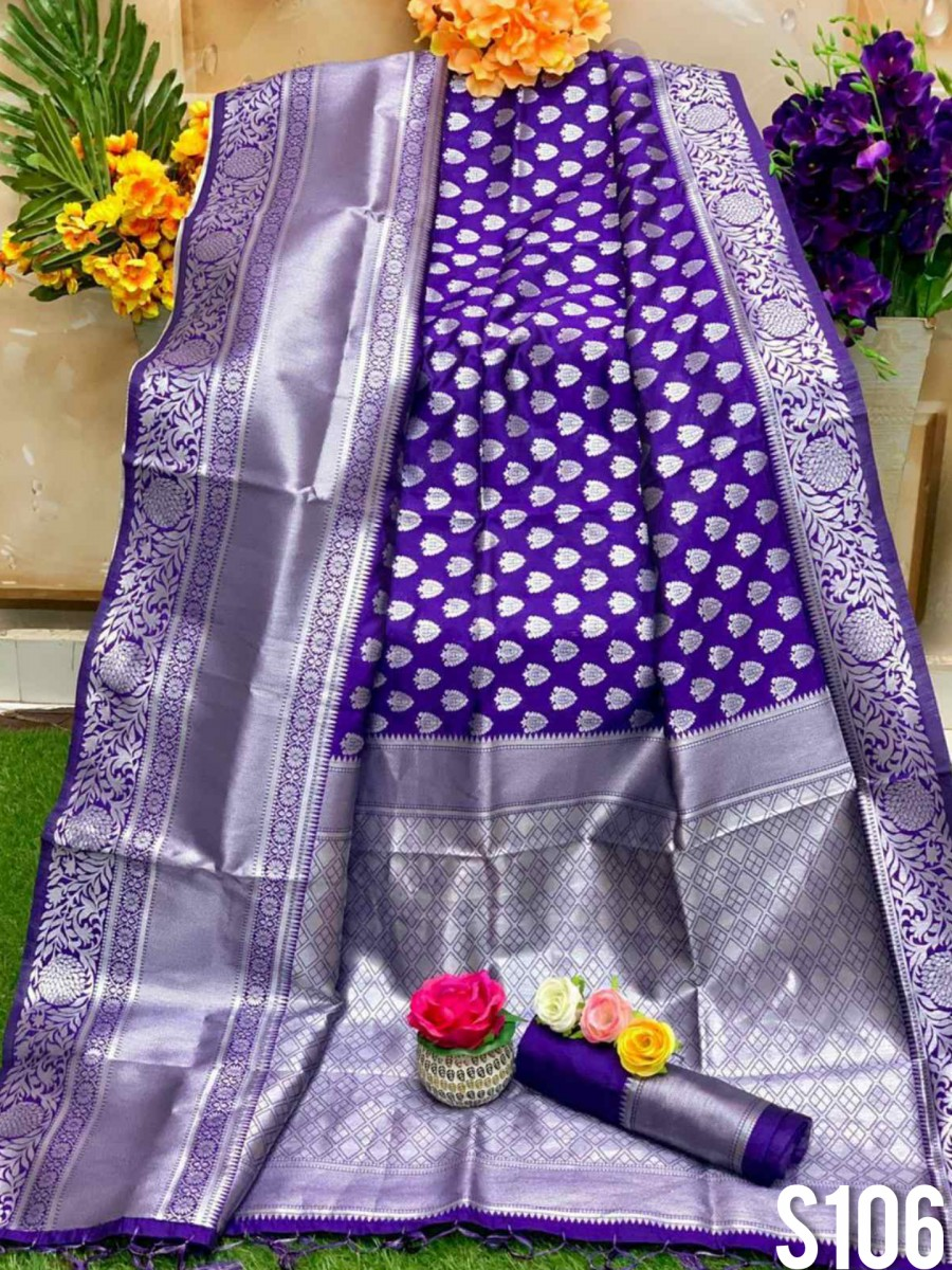 DESIGNER SOFT SILK SAREE WITH BEAUTIFUL SILVER WEAVING WORK S106
