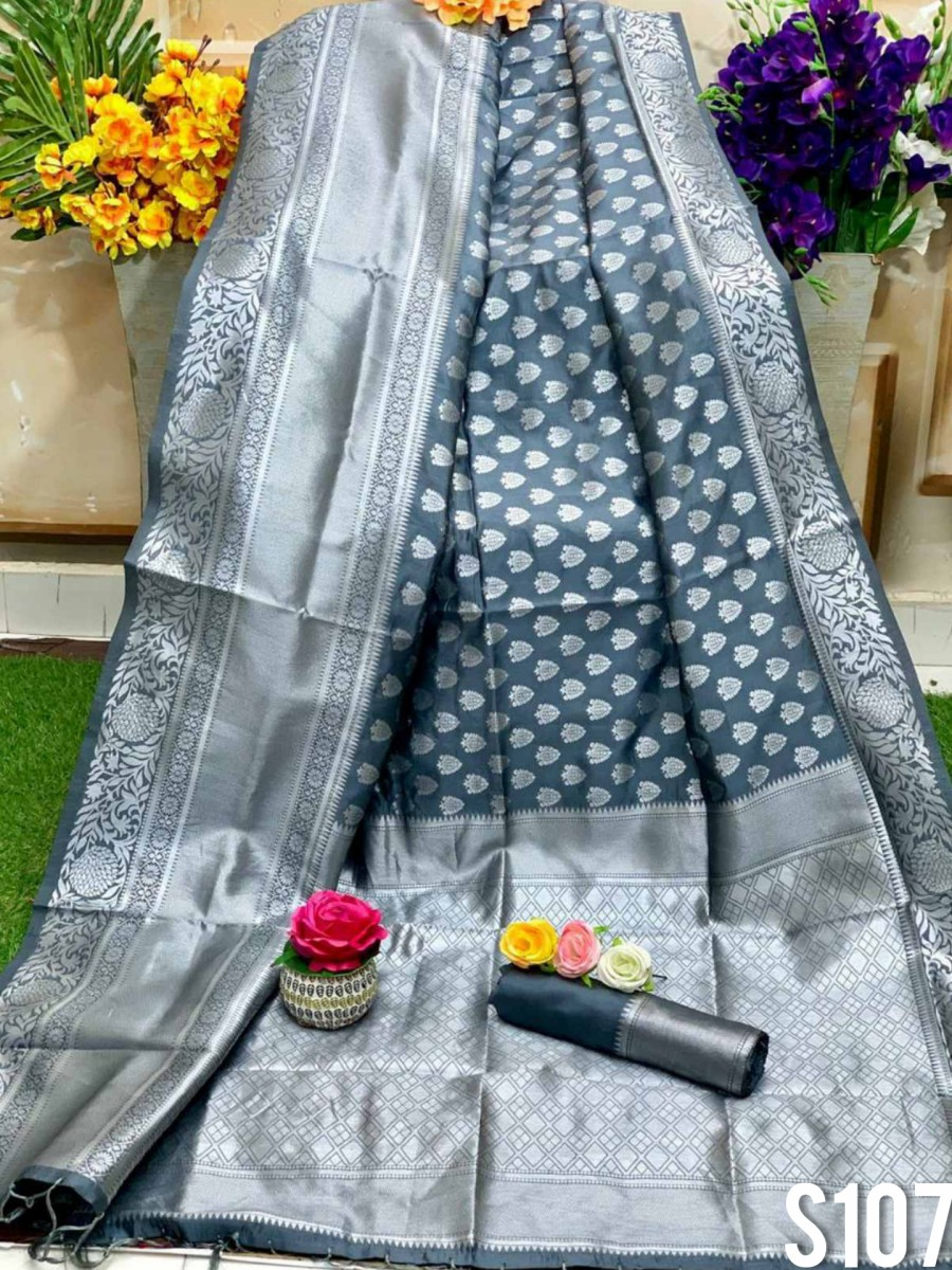 DESIGNER SOFT SILK SAREE WITH BEAUTIFUL SILVER WEAVING WORK S107