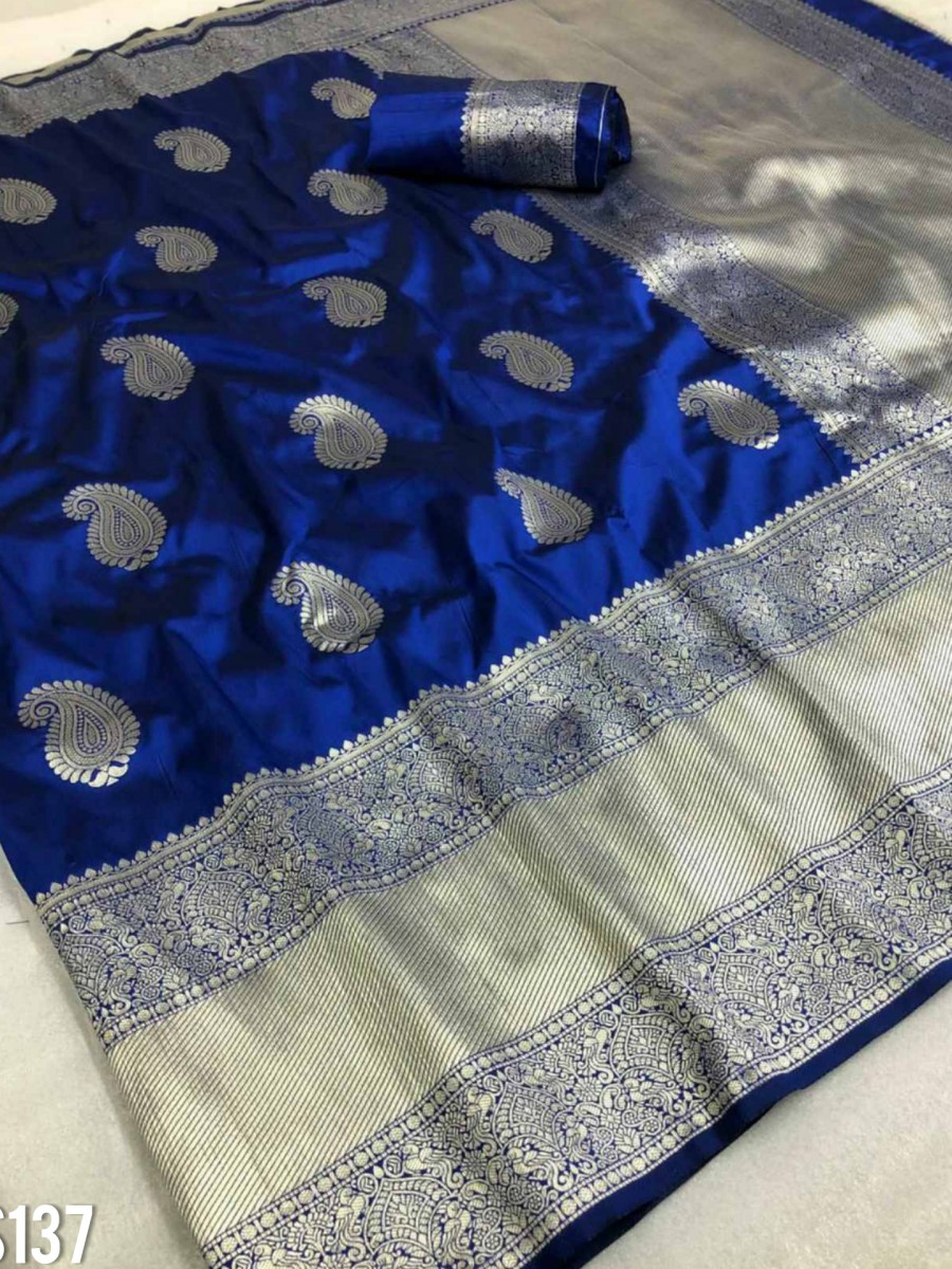 DESIGNER SOFT SILK SAREE WITH BEAUTIFUL SILVER ZARI WEAVING S137