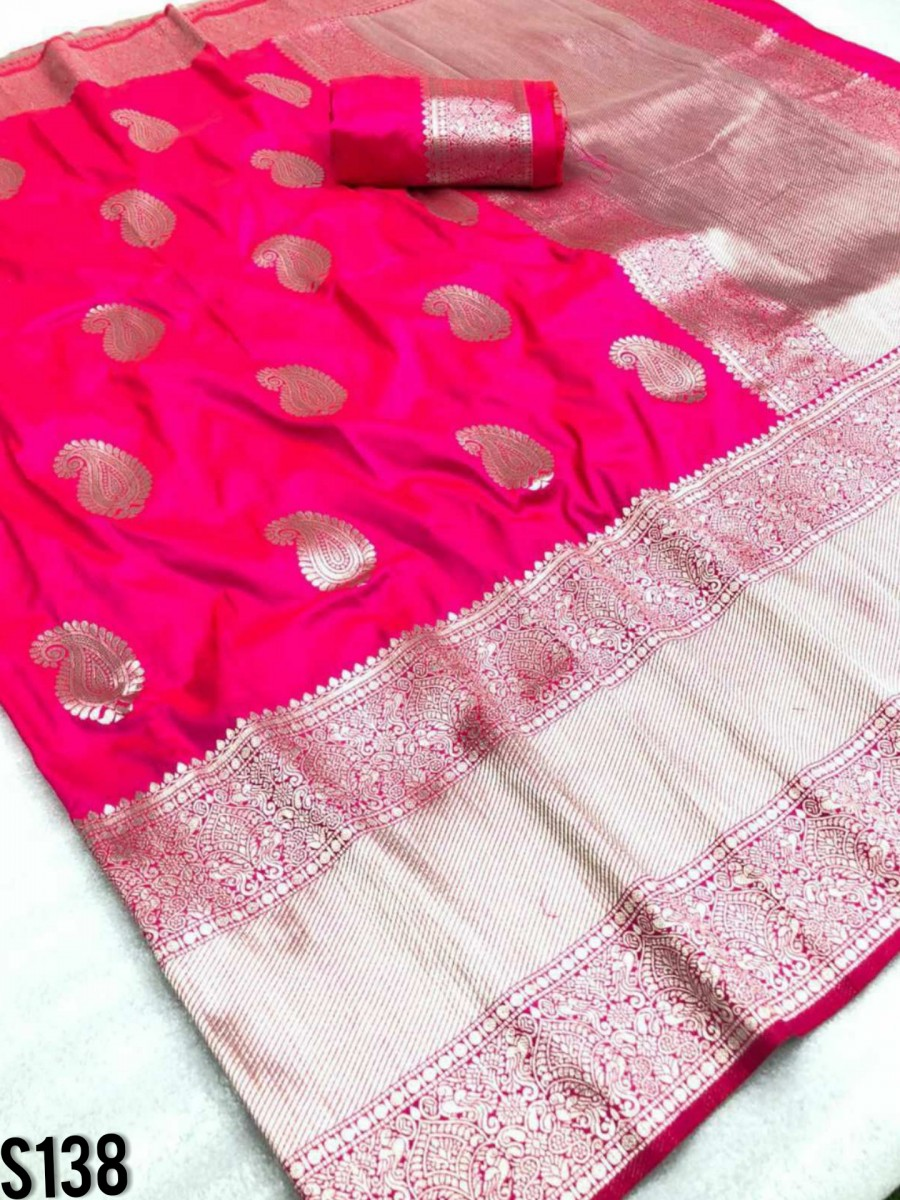 DESIGNER SOFT SILK SAREE WITH BEAUTIFUL SILVER ZARI WEAVING S138
