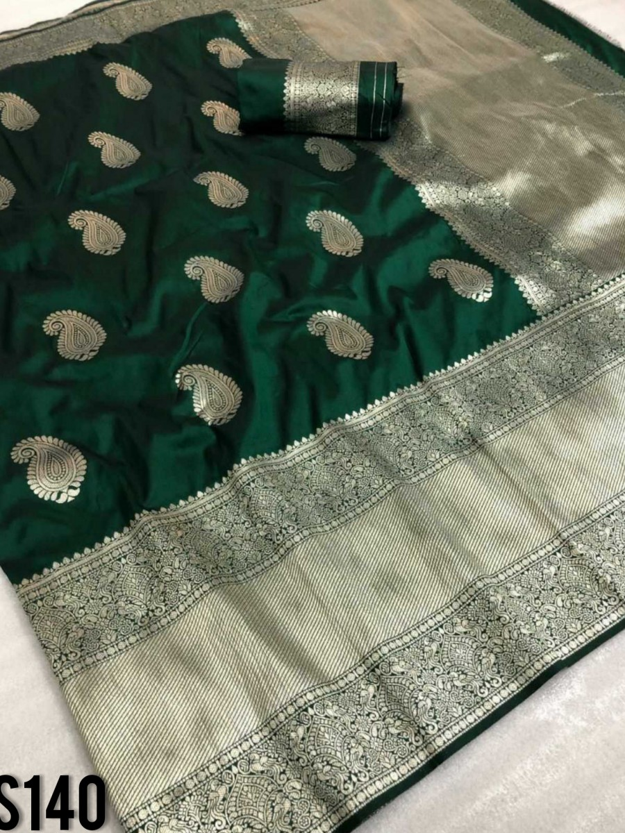 DESIGNER SOFT SILK SAREE WITH BEAUTIFUL SILVER ZARI WEAVING S140