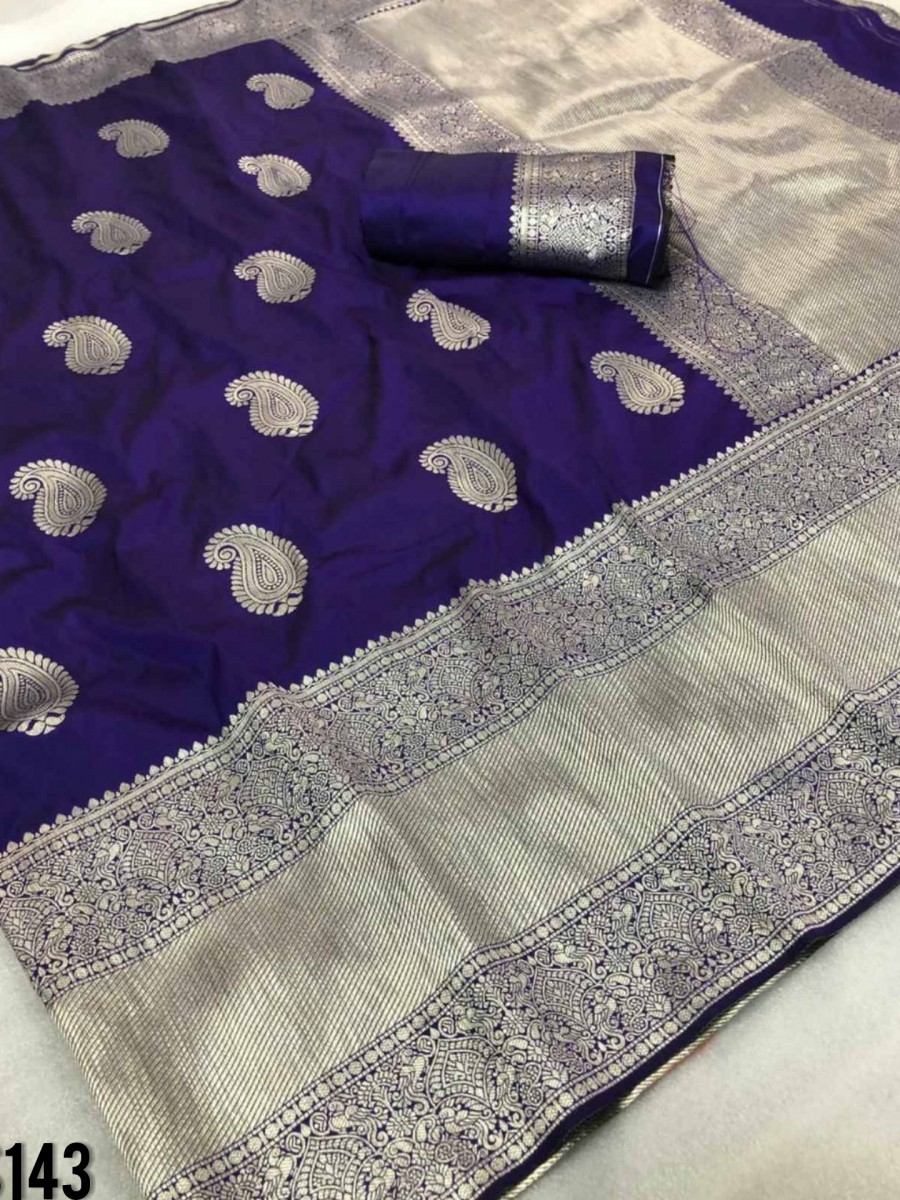 DESIGNER SOFT SILK SAREE WITH BEAUTIFUL SILVER ZARI WEAVING S143