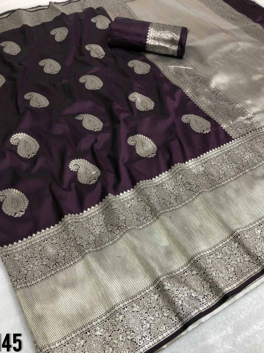 DESIGNER SOFT SILK SAREE WITH BEAUTIFUL SILVER ZARI WEAVING S145