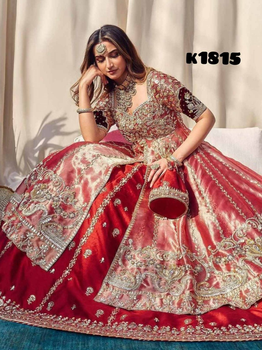 DESIGNER TAFFETA SILK GOWN AND HEAVY NET WITH EMBROIDERY WORK K1815