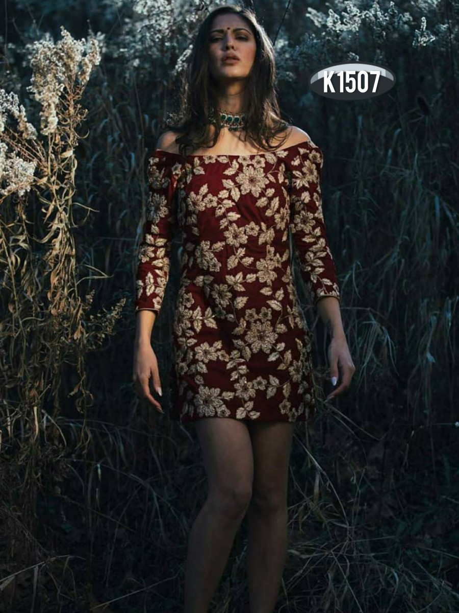 DESIGNER TAFFETA SILK KURTA WITH EMBROIDERY WORK K1507