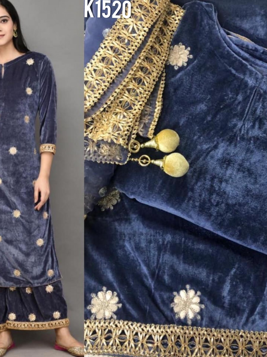 DESIGNER VISCOSE VELVET KURTI WITH EMBROIDERY WORK K1519