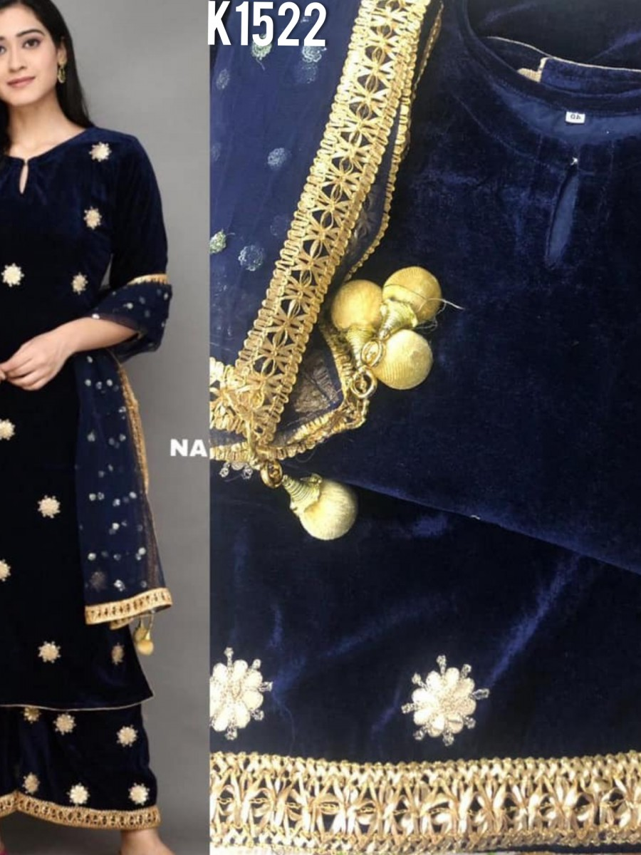 DESIGNER VISCOSE VELVET KURTI WITH EMBROIDERY WORK K1522
