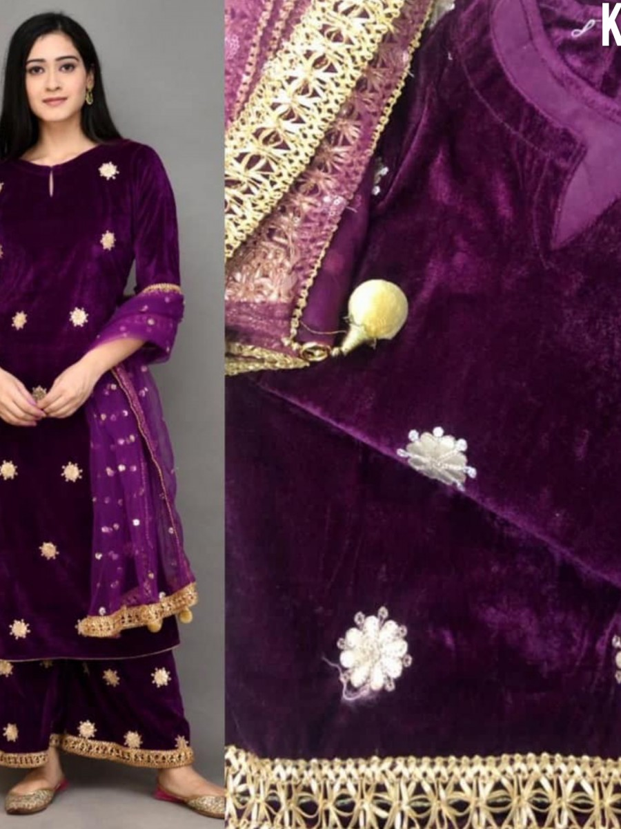 DESIGNER VISCOSE VELVET KURTI WITH EMBROIDERY WORK K1523