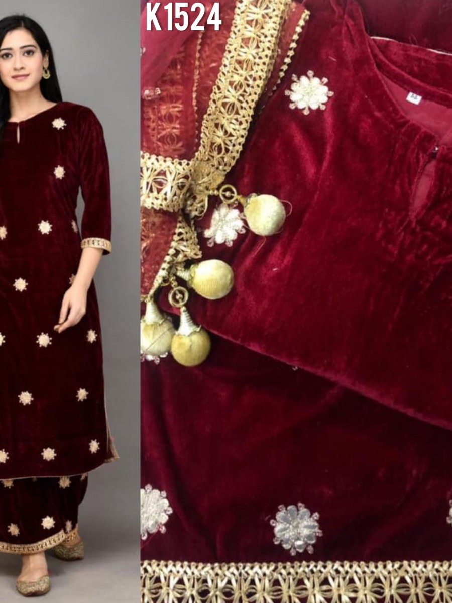 DESIGNER VISCOSE VELVET KURTI WITH EMBROIDERY WORK K1524
