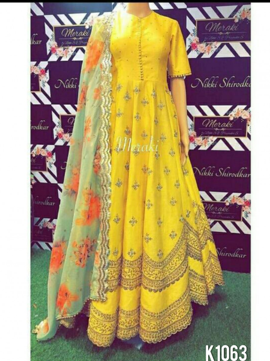 DESIGNER YELLOW ANARKALI WITH SEQUENCE AND MOTI LACE WORK K1063