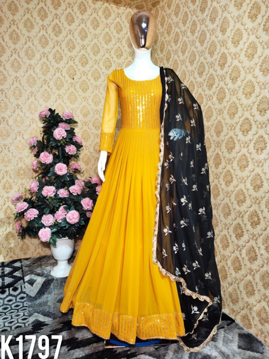 DESIGNER YELLOW GOWN WITH EMBROIDERY WORK K1797