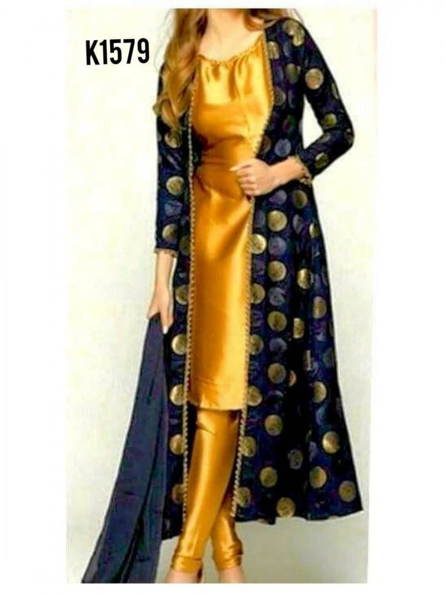 DESIGNER  YELLOW KURTI WITH OUTER K1579