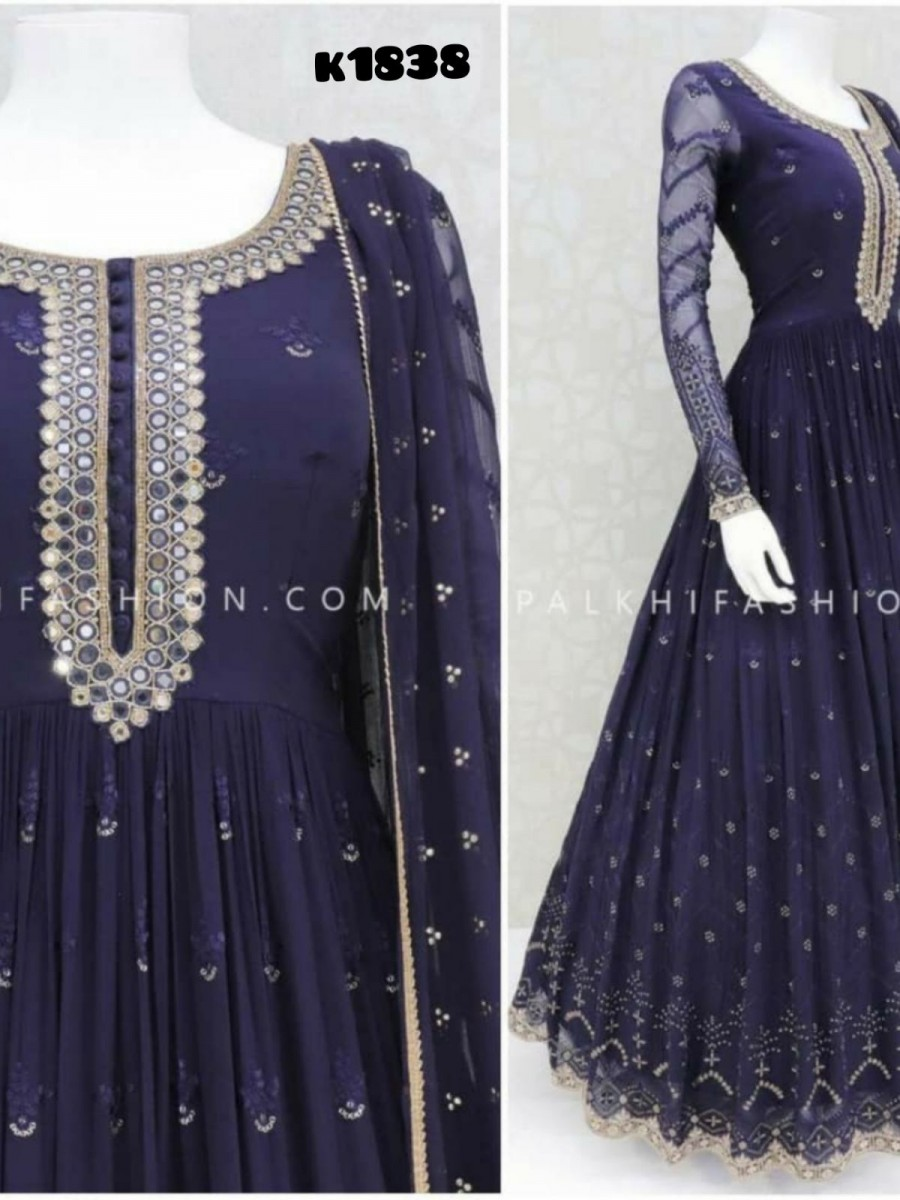 GEORGETTE GOWN WITH EMBROIDERY WORK K1838