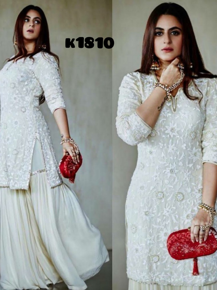 GEORGETTE KURTI SET WITH HEAVY EMBROIDERY WORK K1810