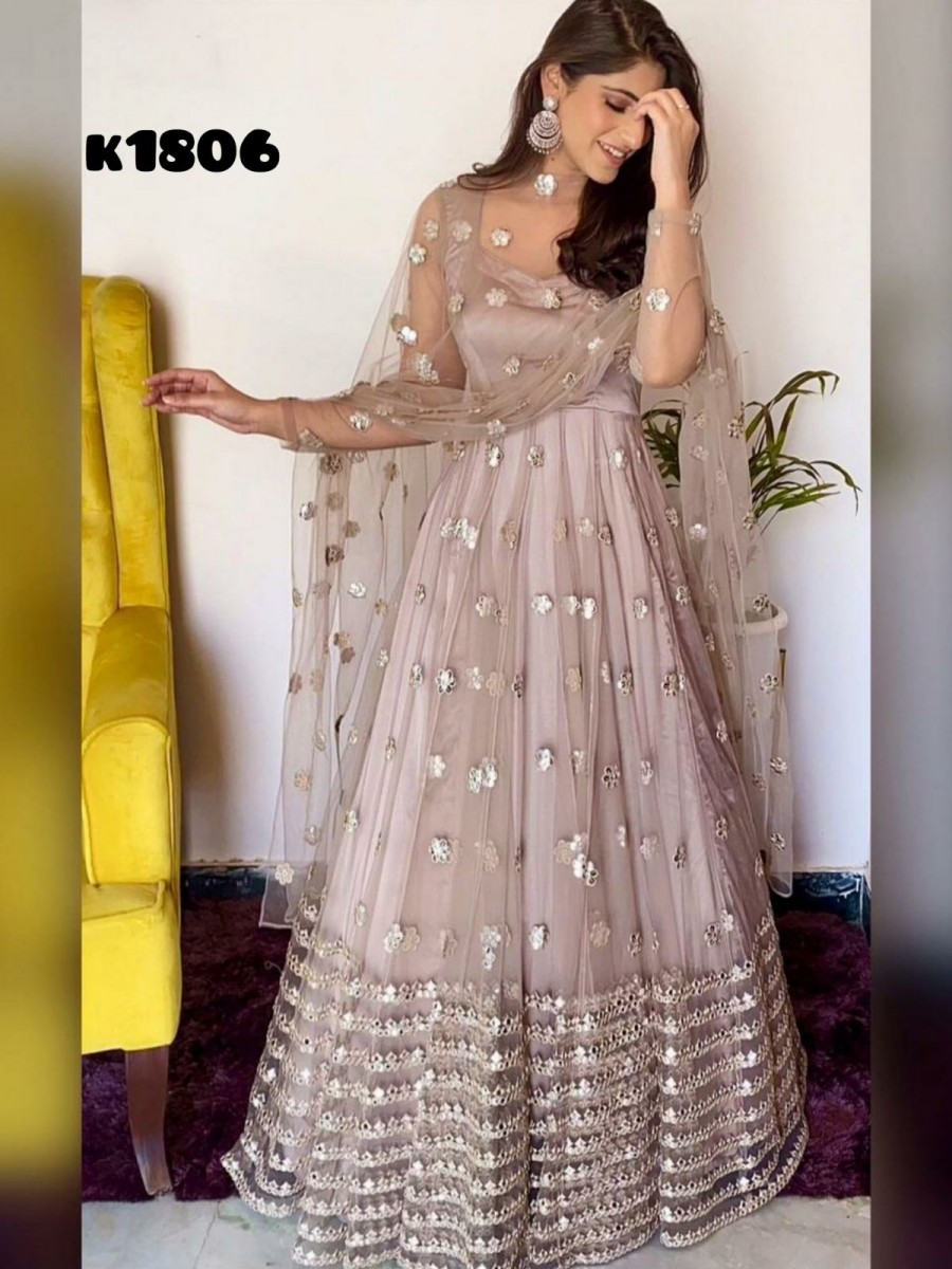 HEAVY BUTTERFLY NET GOWN WITH EMBROIDERY PAPER MIRROR WORK K1806