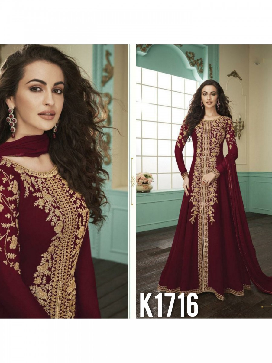 HEAVY FAUX GEORGETTE GOWN  WITH BADLA WORK K1716