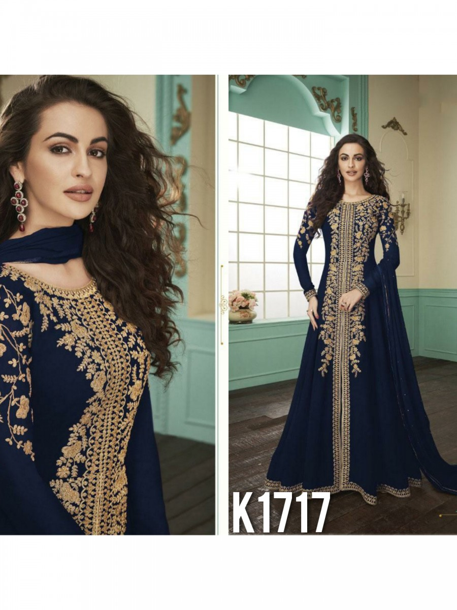 HEAVY FAUX GEORGETTE GOWN  WITH BADLA WORK K1717