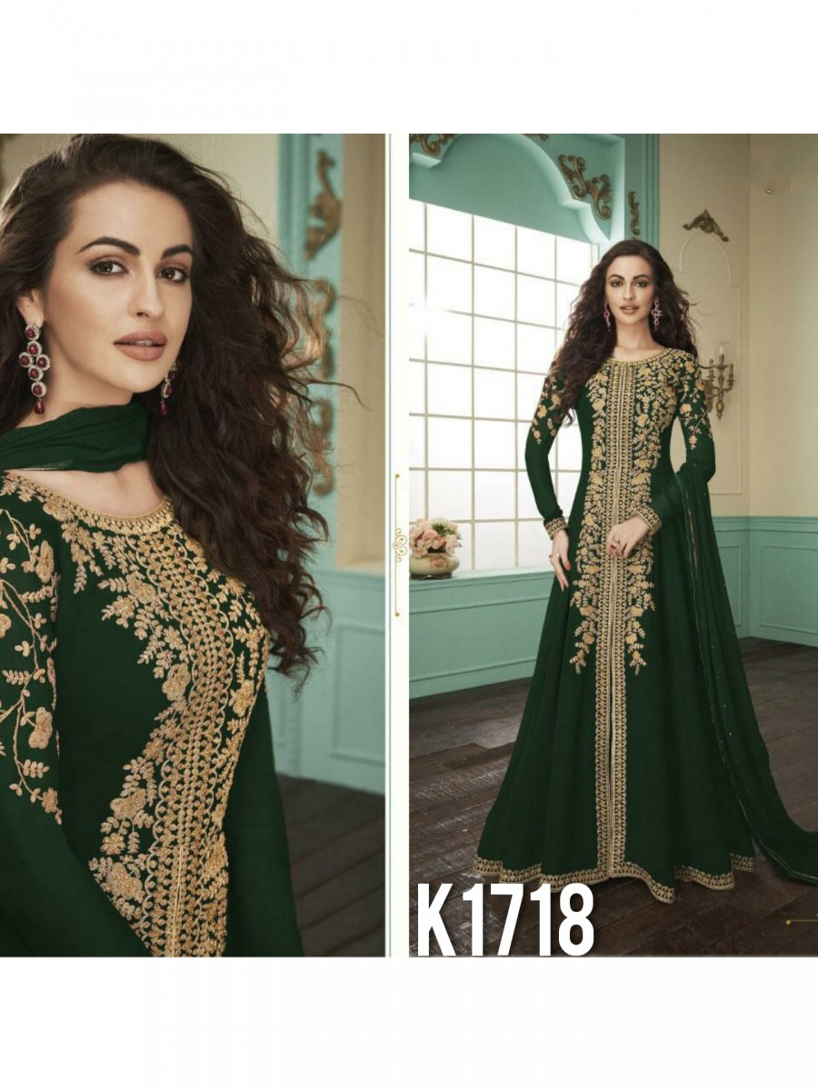 HEAVY FAUX GEORGETTE GOWN  WITH BADLA WORK K1718