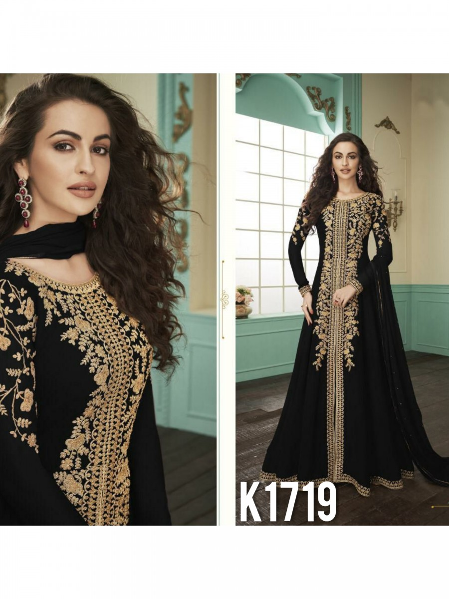 HEAVY FAUX GEORGETTE GOWN  WITH BADLA WORK K1719