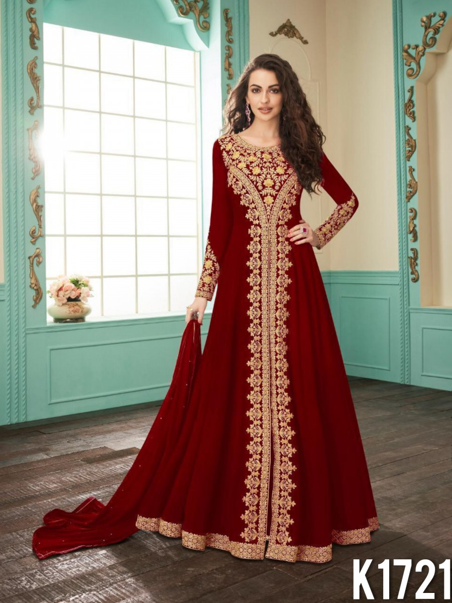 HEAVY FAUX GEORGETTE GOWN WITH CODDING WORK K1721
