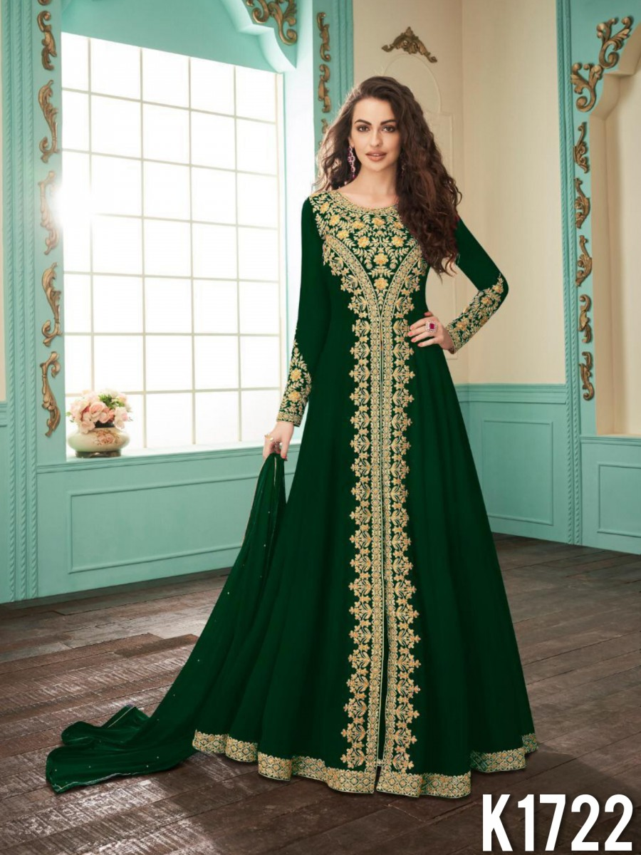 HEAVY FAUX GEORGETTE GOWN WITH CODDING WORK K1722