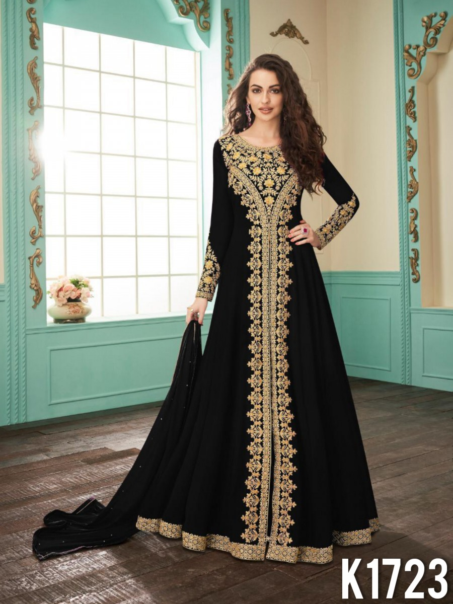 HEAVY FAUX GEORGETTE GOWN WITH CODDING WORK K1723