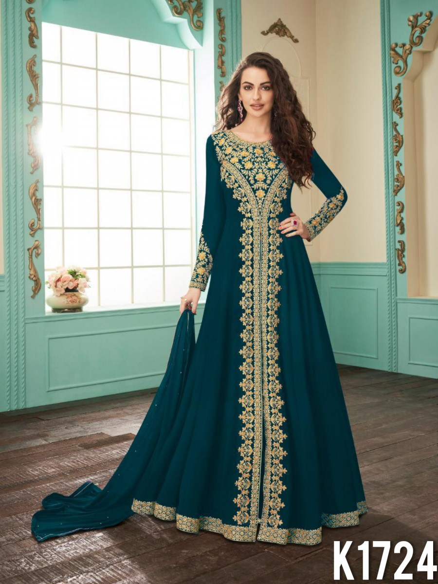 HEAVY FAUX GEORGETTE GOWN WITH CODDING WORK K1724