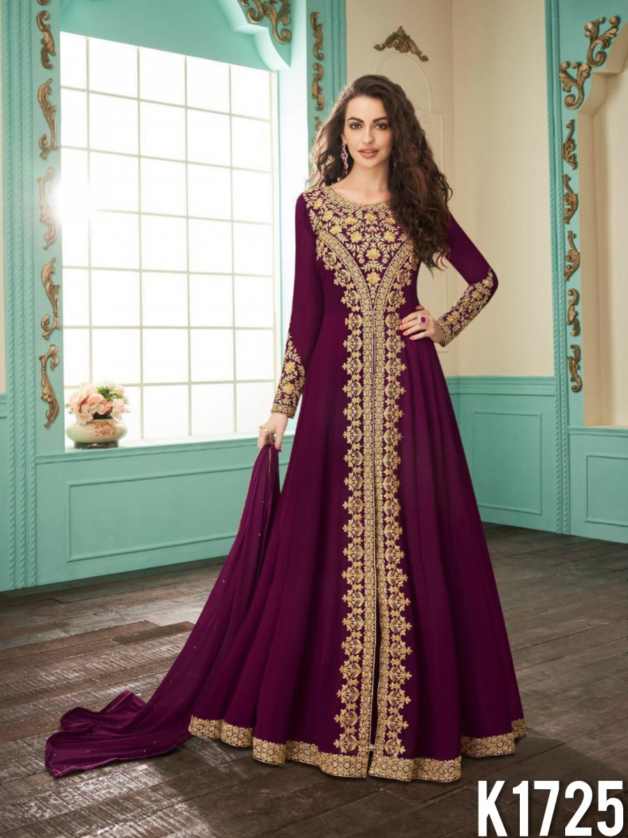 HEAVY FAUX GEORGETTE GOWN WITH CODDING WORK K1725