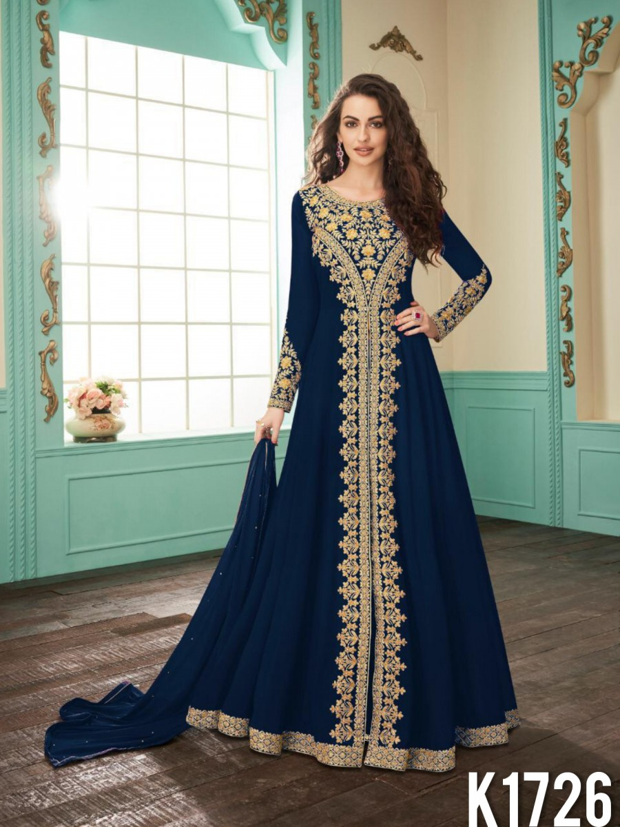 HEAVY FAUX GEORGETTE GOWN WITH CODDING WORK K1726