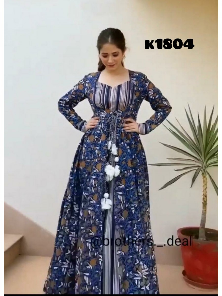 HEAVY FAUX GEORGETTE WITH DIGITAL PRINT GOWN K1804