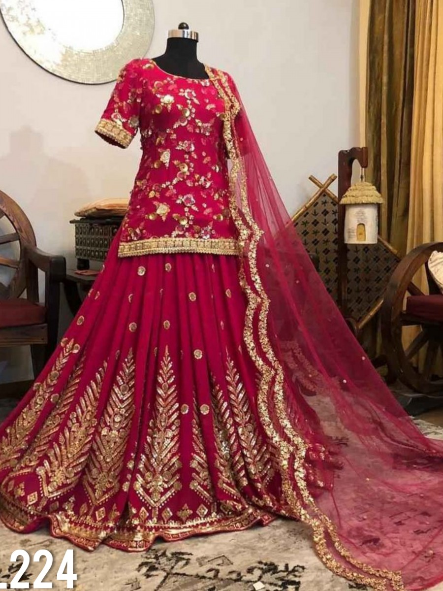 HEAVY GEORGETTE LEHENGA WITH HEAVY EMBROIDERY WORK L224