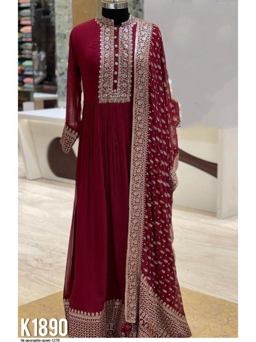 HEAVY GEORGETTE SILK GOWN WITH HEAVY EMBROIDERY WORK K1890