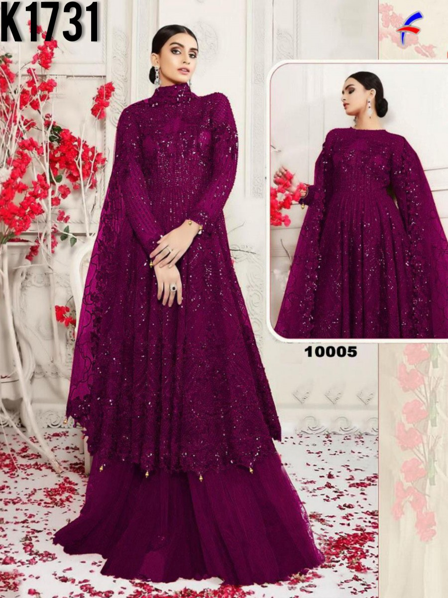 HEAVY NET GOWN WITH SEQUENCE WORK K1731