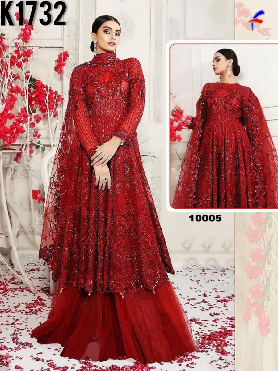 HEAVY NET GOWN WITH SEQUENCE WORK K1732