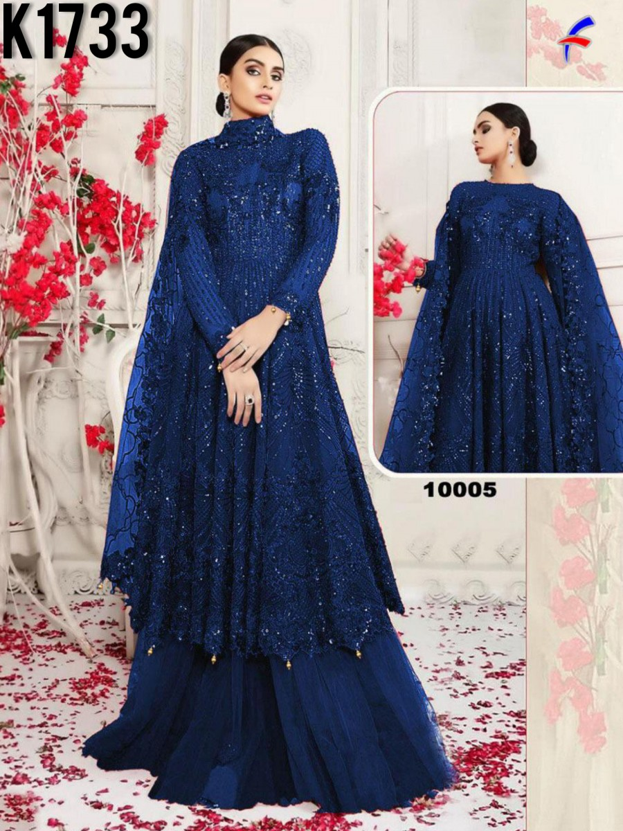 HEAVY NET GOWN WITH SEQUENCE WORK K1733