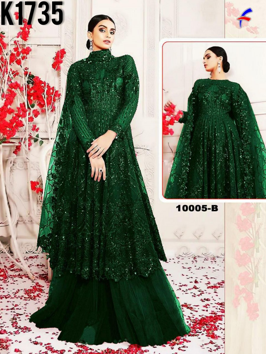 HEAVY NET GOWN WITH SEQUENCE WORK K1735