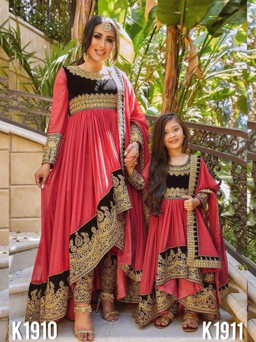 MOTHER AND DAUGHTER HEAVY VICHITRA SILK KURTI SET K1910-K1911