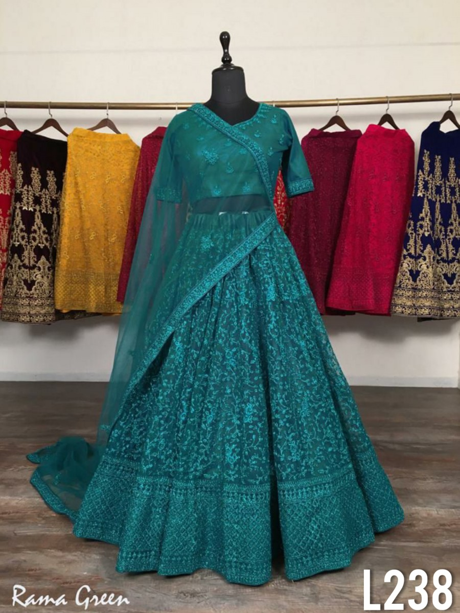 NET LEHENGA WITH HEAVY EMBROIDERY WORK L238