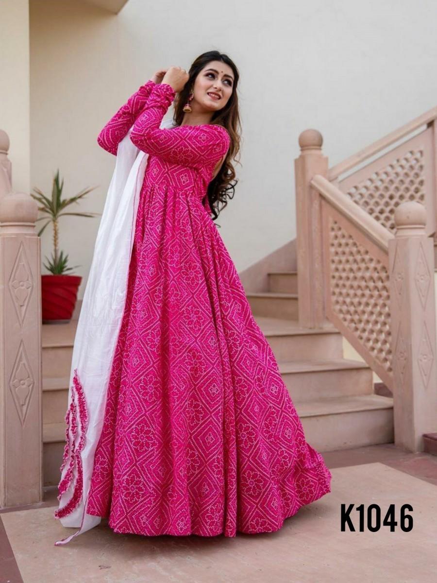Pink anarkali k1046