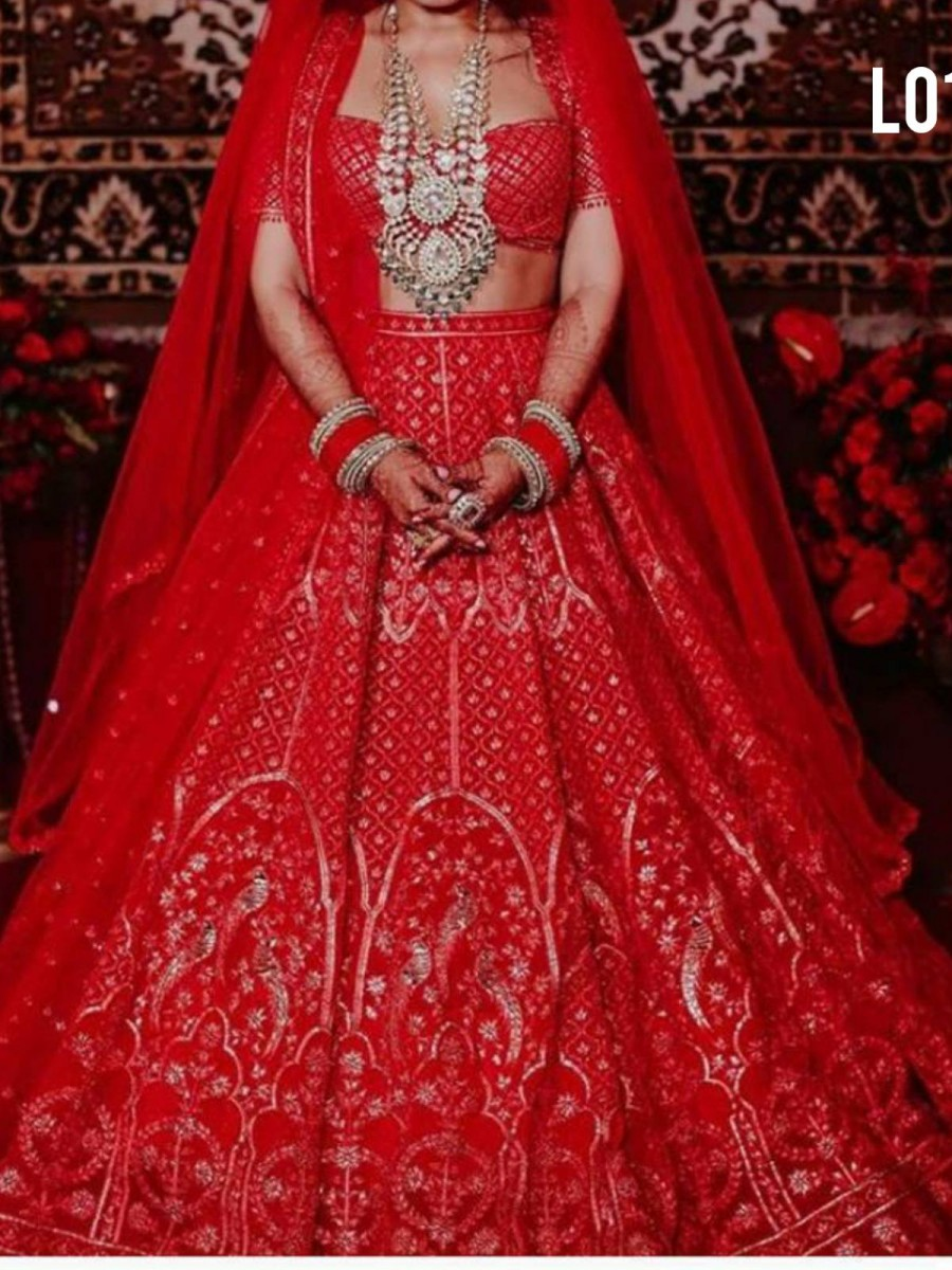 RED EMBROIDERY LEHENGA L01