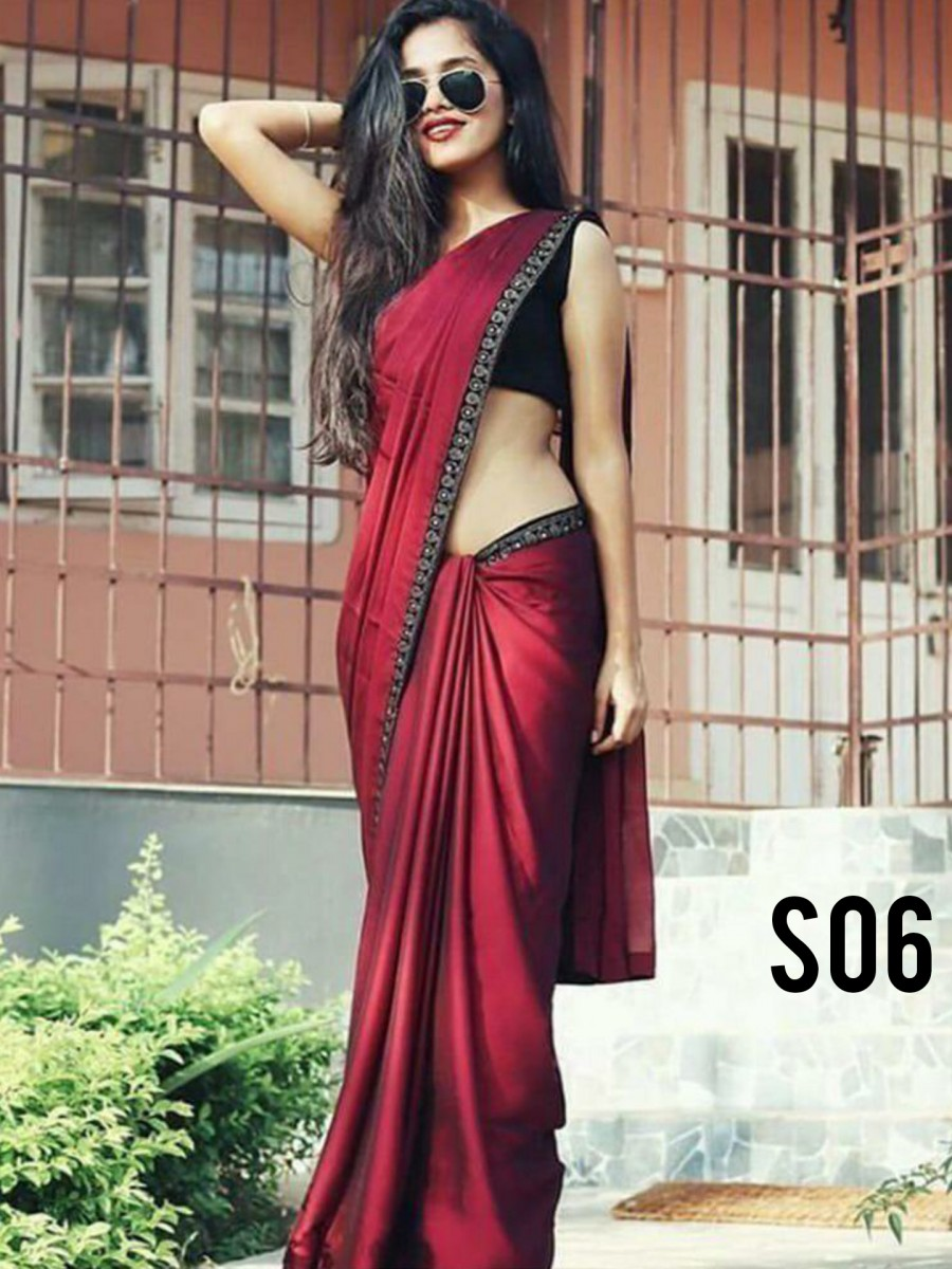 Simple border saree S06