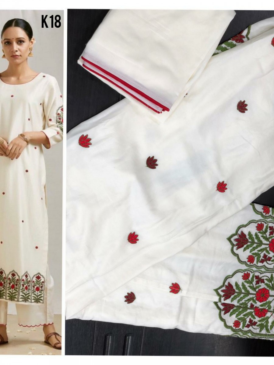 WHITE RAYON COTTON KURTA K18
